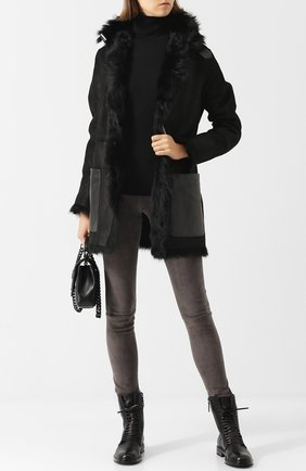 Замшевые брюки-скинни с контрастным поясом DROMe темно-зеленые | Фото №1