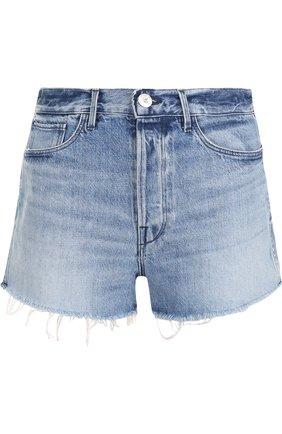 Женские джинсовые мини-шорты с потертостями 3X1 синего цвета, арт. WSXSB0866/ABERDEEN | Фото 1