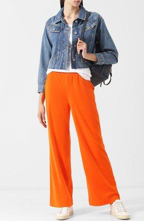 Укороченная джинсовая куртка с потертостями Paige синяя | Фото №1