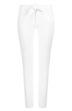 Укороченные однотонные джинсы с бантом Paige белые | Фото №1