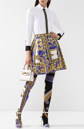 Мини-юбка из смеси хлопка и шелка в складку Versace разноцветная | Фото №1
