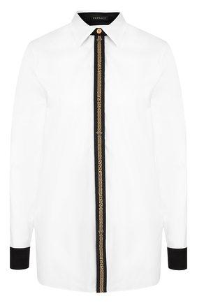 Женская хлопковая блуза с контрастной отделкой Versace, цвет белый, арт. A80503/A201503 в ЦУМ | Фото №1