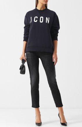 Хлопковый пуловер с круглым вырезом и надписью Dsquared2 бордовый | Фото №1