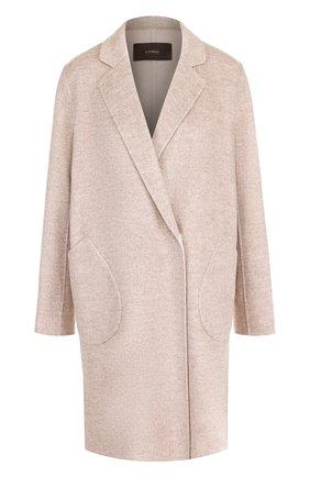 Однотонное пальто из смеси шерсти и кашемира Windsor бежевого цвета | Фото №1
