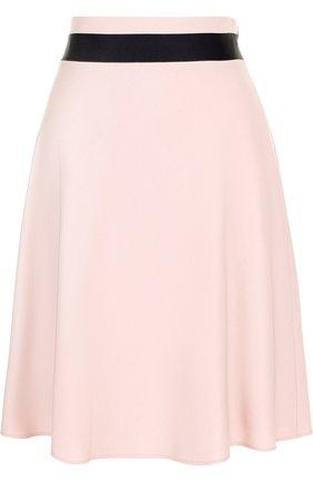 Юбка из смеси шерсти и вискозы с контрастной отделкой Windsor светло-розовая | Фото №1