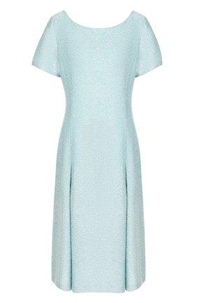 Приталенное вязаное платье-миди St. John голубое | Фото №1