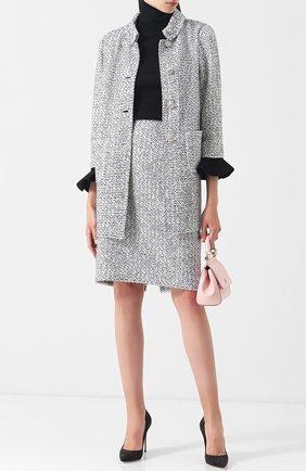 Пальто из смеси шерсти и вискозы с накладными карманами St. John черно-белого цвета | Фото №1