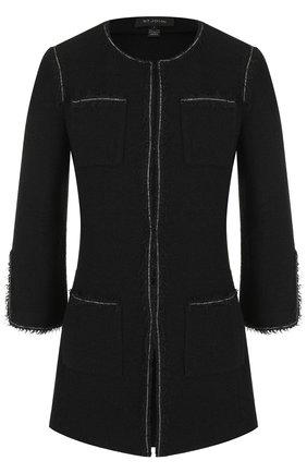 Удлиненный жакет из смеси шерсти и вискозы с накладными карманами St. John черный | Фото №1