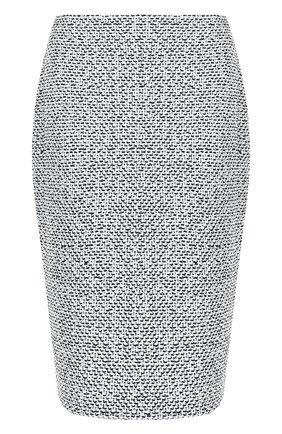 Вязаная юбка-карандаш из смеси шерсти и вискозы St. John черно-белая | Фото №1