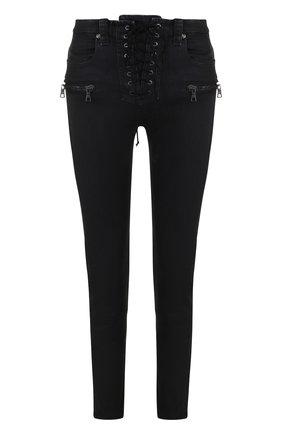 Однотонные джинсы со шнуровкой Ben Taverniti Unravel Project черные | Фото №1