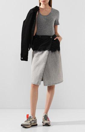 Женская футболка MONROW серого цвета, арт. HT2337MHJ | Фото 2