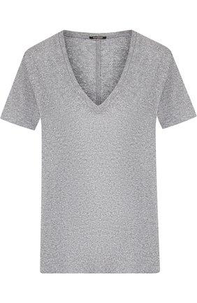 Однотонная футболка с V-образным вырезом Monrow серая | Фото №1