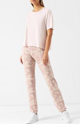 Однотонная футболка с круглым вырезом Monrow розовая | Фото №1