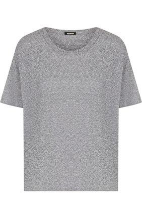 Однотонная футболка с круглым вырезом Monrow серая | Фото №1