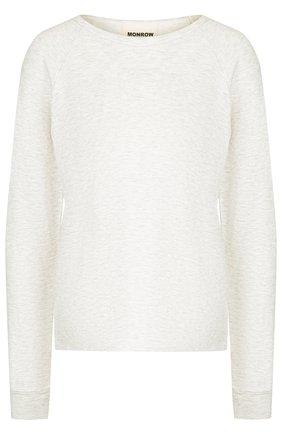 Однотонный пуловер с круглым вырезом Monrow бежевая | Фото №1