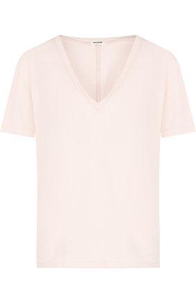 Однотонная футболка с V-образным вырезом Monrow белая | Фото №1