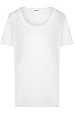 Хлопковая футболка с вышивкой в виде звезд Monrow белая | Фото №1