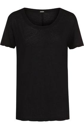 Однотонная хлопковая футболка с круглым вырезом Monrow черная | Фото №1