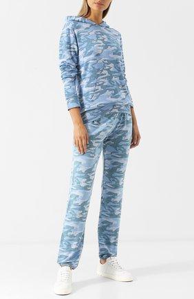 Хлопковый пуловер с капюшоном и принтом Monrow голубой | Фото №1
