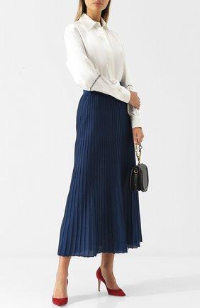 Женская юбка-миди из смеси кашемира и шелка LORO PIANA бирюзового цвета, арт. FAI1841   Фото 2