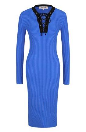 Приталенное платье со шнуровкой Diane Von Furstenberg синее   Фото №1