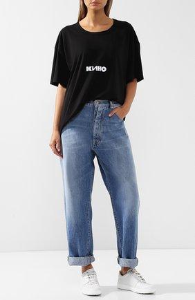 Женская хлопковая футболка с круглым вырезом и принтом VIKA GAZINSKAYA черного цвета, арт. SS18-1246 | Фото 2