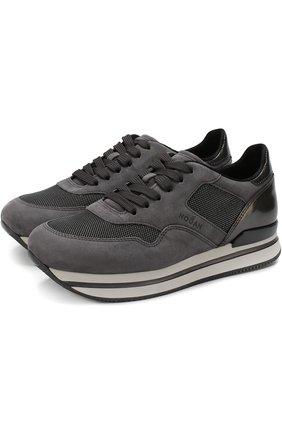 Замшевые кроссовки на шнуровке с текстильной отделкой | Фото №1