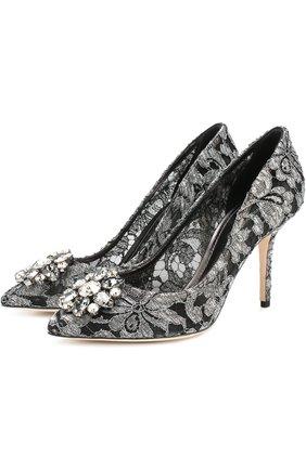 Женская кружевные туфли rainbow lace с брошью DOLCE & GABBANA серебряного цвета, арт. CD0101/AE637 | Фото 1