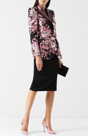 Женская туфли lori с ремешком и брошью DOLCE & GABBANA розового цвета, арт. CD1026/AU547 | Фото 2