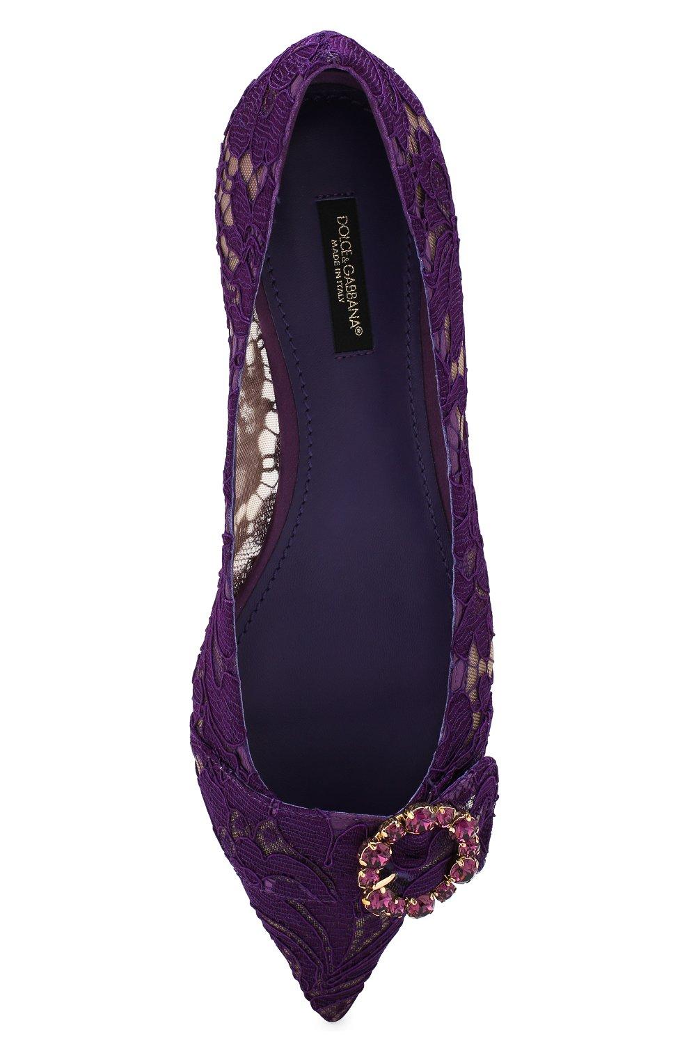 Кружевные балетки Bellucci с брошью Dolce & Gabbana сиреневые | Фото №5