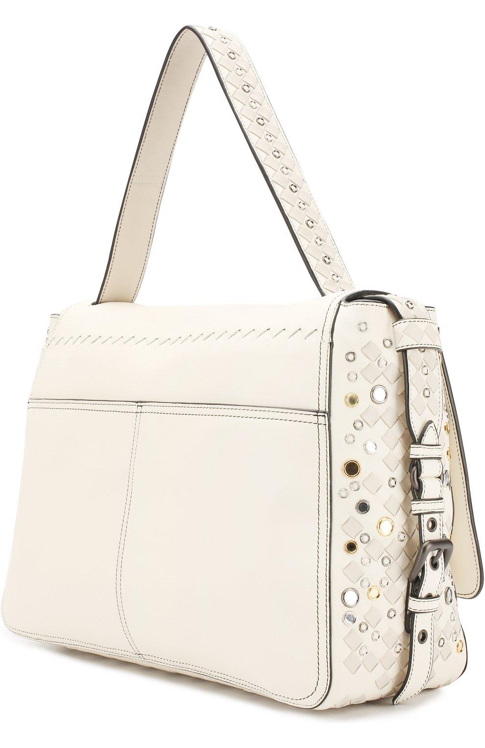 Женская сумка с плетением intrecciato BOTTEGA VENETA белого цвета, арт. 512161/V1EEQ | Фото 3