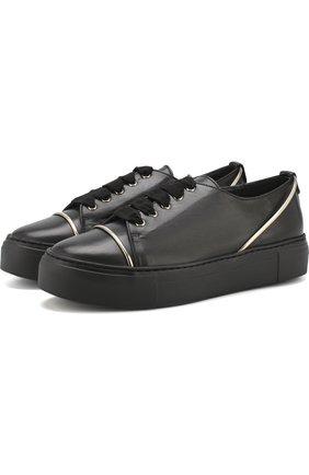 Кожаные кеды на шнуровке AGL черные | Фото №1