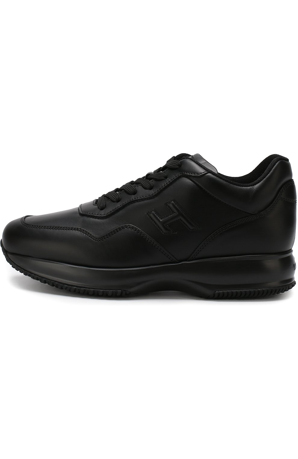 Кожаные кроссовки на шнуровке | Фото №3