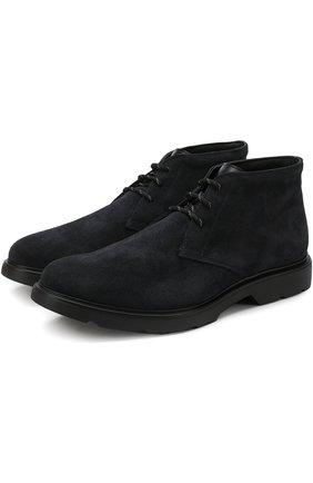 Замшевые ботинки на шнуровке Hogan темно-синие | Фото №1