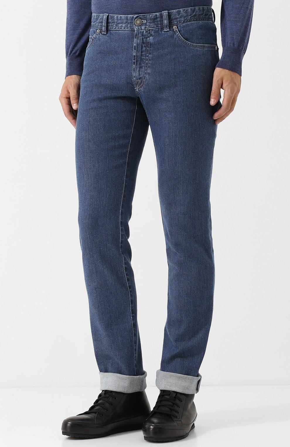Мужские джинсы прямого кроя BRIONI синего цвета, арт. SPL40L/07D24/MERIBEL | Фото 3