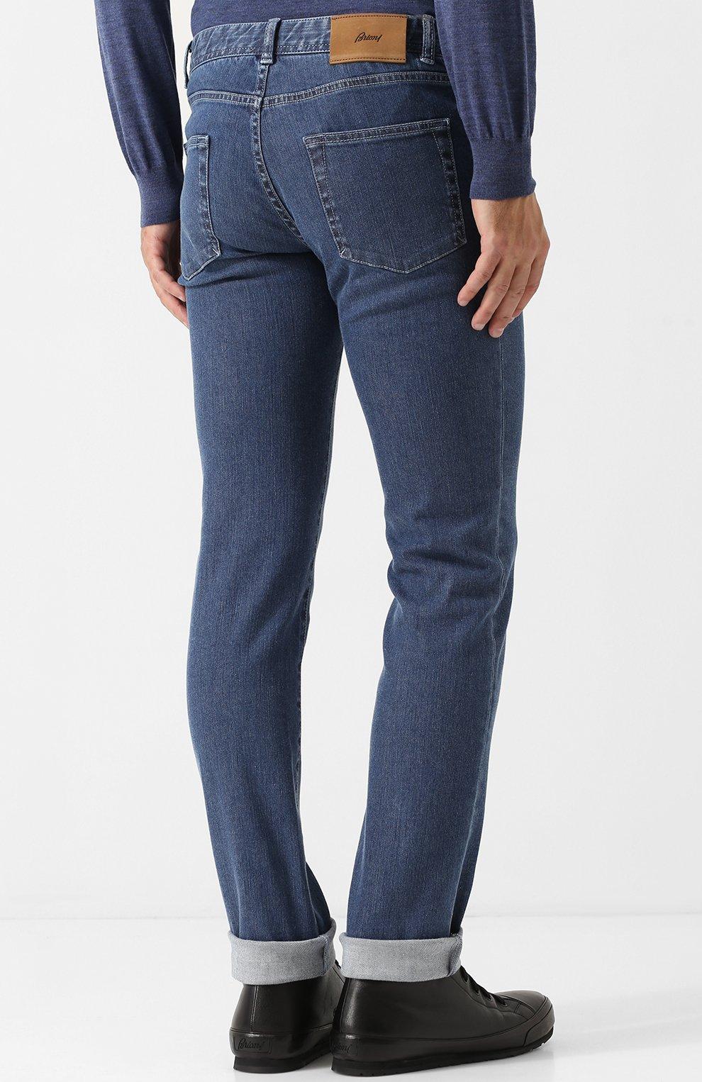 Мужские джинсы прямого кроя BRIONI синего цвета, арт. SPL40L/07D24/MERIBEL | Фото 4