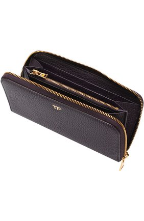 Кожаное портмоне на молнии Tom Ford бордового цвета | Фото №3