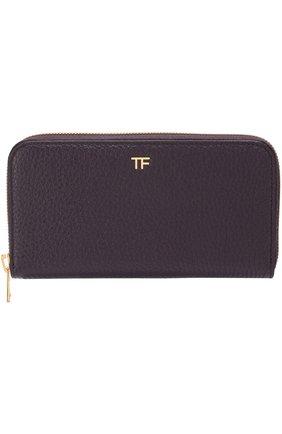 Кожаное портмоне на молнии Tom Ford бордового цвета   Фото №1