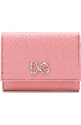 Женские кожаный кошелек на кнопке DOLCE & GABBANA розового цвета, арт. BI0770/AU771 | Фото 1