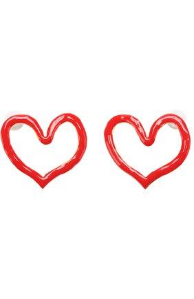 Серьги в виде сердец Oscar de la Renta красные | Фото №1
