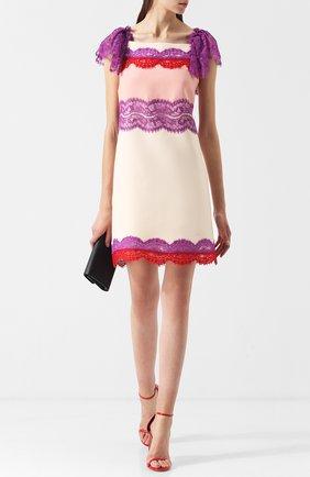 Мини-платье из смеси шерсти и шелка с кружевной отделкой Emilio Pucci разноцветное | Фото №1