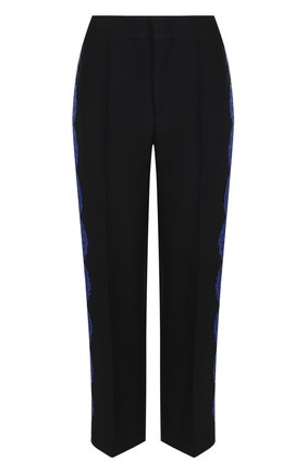 Укороченные брюки со стрелками и кружевной отделкой Emilio Pucci черные | Фото №1
