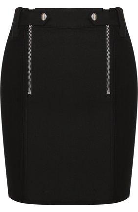 Однотонная мини-юбка с металлическими молниями T by Alexander Wang черная | Фото №1