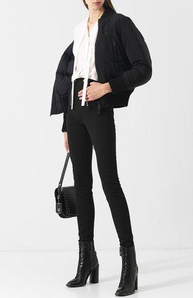 Однотонные брюки с металлическими молниями T by Alexander Wang черные | Фото №1