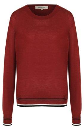 Шерстяной пуловер с круглым вырезом и контрастной отделкой Diane Von Furstenberg бордовый   Фото №1