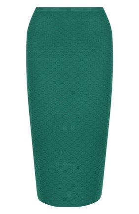 Однотонная юбка-миди из вискозы Diane Von Furstenberg темно-зеленая   Фото №1