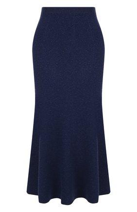 Однотонная юбка-миди из смеси вискозы и шерсти Victoria Beckham темно-синяя | Фото №1