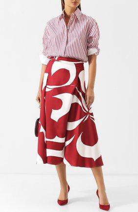 Шелковая юбка-миди с принтом Victoria Beckham бордовая | Фото №1