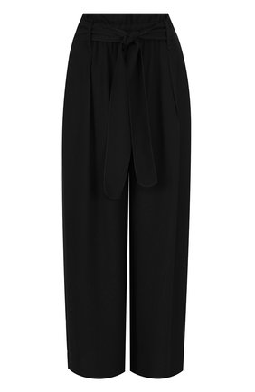 Укороченные брюки свободного кроя с поясом Forte_forte черные   Фото №1