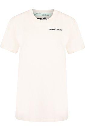 Хлопковая футболка с круглым вырезом и логотипом бренда Off-White белая | Фото №1